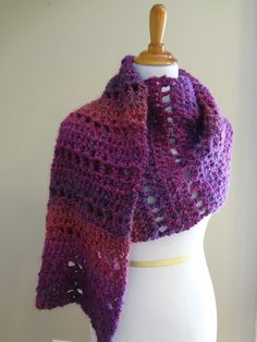 """Fiber Flux...Adventures in Stitching: Free Crochet Pattern...Mulberry Shawl! 2 Skeins Lion Brand Homespun (Shawl shown is the """"Ambrosia"""" colorway)"""