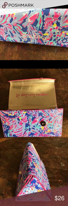 """LILLY PULITZER SUNGLASSES CASE NWOT SO CUTE! FOLDABLE SUNGLASS CASE in """"Blue Shrimply Chic"""" DESCRIPTION  Everyone has the same sunglasses these days. Don't mix up your favorites with your friend - get a Lilly printed sunglass case to store your sunnies.  Folds Closed For Easy Storage. Gold Hardware, Protective Interior Lining And Gold Lilly Logo On Back. Imported. Style #: 500807 Lilly Pulitzer Accessories Sunglasses"""