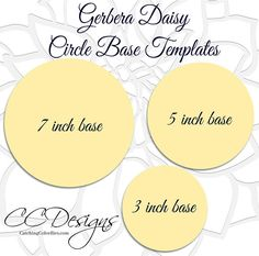 Giant gerbera daisy templates. Instant download PDF and SVG cut files. ♥♥♥♥ PLEASE READ FULL DESCRIPTION. ♥♥♥♥ This listing includes: ♥ 1 Daisy template as shown plus 1 large leaf, and round-tip vine template. Three circle bases included- 7 inch, 5 inch and 3 inch circle template.