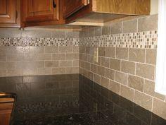 Stone Subway Tile Kitchen Backsplash