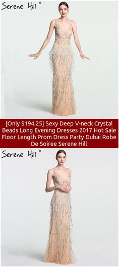 [Only $194.25] Sexy Deep V-neck Crystal Beads Long Evening Dresses 2017 Hot Sale Floor Length Prom Dress Party Dubai Robe De Soiree Serene Hill