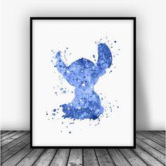 Stitch, Lilo and Stitch Blue Art Print Poster by Carma Zoe Watercolor Disney, Watercolor Art, Hawaiian Decor, Boy Decor, Blue Art, Lilo And Stitch, Print Poster, Disney Art, Nursery Art