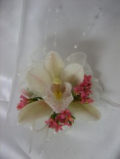Pink Kalanchoe & Orchid Corsage Orchid Corsages, Pink Weddings, Orchids, Bridal Shower, Prom, Flowers, Light Pink Weddings, Shower Party, Senior Prom