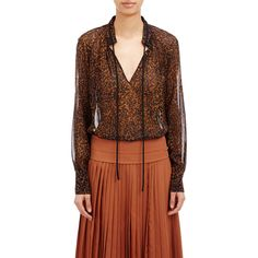 Derek Lam Chiffon Tieneck Blouse (€540) ❤ liked on Polyvore featuring tops, blouses, black, keyhole top, chiffon blouse, scalloped blouse, tie neck blouse and pattern blouse