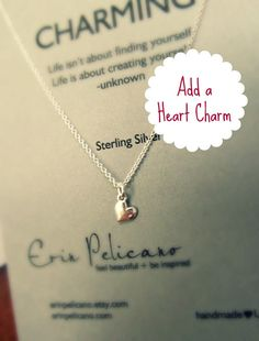A D D - H E A R T - C H A R M >>>    - - - {{ ITEM DETAILS }} - - -    This Listing is to ADD a HEART CHARM ONLY to your Custom Charm Necklace,