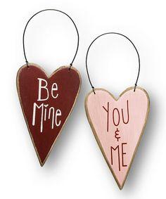 'Be Mine' & 'You & Me' Heart Ornaments Set #zulily #zulilyfinds