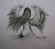 Was für eine gute Zeichnung ♥ - Site Aujourd& - - Easy Drawings Sketches, Fairy Drawings, Sad Drawings, Dark Art Drawings, Pencil Art Drawings, Angel Wings Drawing, Falling Angel Drawing, Angel Artwork, Art Sketchbook