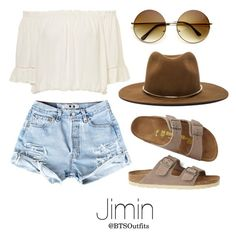 """Coachella Date with Jimin"" by btsoutfits ❤ liked on Polyvore featuring Birkenstock and Janessa Leone"