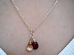 Garnet and Apricot Quartz Briollete Gold fill Necklace by Lilyb444, $40.00