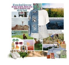 """""""Road Trip."""" by dovequinn ❤ liked on Polyvore featuring Talli, Topshop, Love Quotes Scarves, Frame, Lomography and Muji"""
