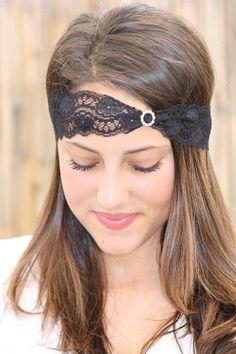 Lace Headband with Diamond like Rhinestones, Black Elastic Headband, Hair piece, Hair accessory, Soft black lace, stretchy lace
