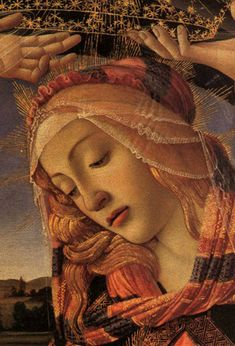 The Madonna of the Magnificat detail, 1483-85    Sandro Botticelli. It is housed in the Uffizi, Florence.