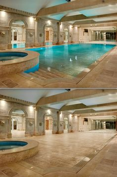 Moving floors transform your swimming pool into a yoga studio, garage, or party space. I absolutely want this