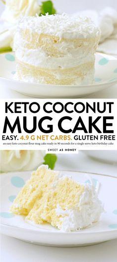 Coconut flour mug cake - keto single birthday cake - Sweetashoney KETO COCONUT FLOUR MUG CAKE easy, low carb, healthy a keto vanilla mug cake with coconut frosting net carbs Coconut Flour Mug Cake, Coconut Flour Recipes, Coconut Frosting, Low Carb Mug Cakes, Keto Mug Cake, Keto Cupcakes, Low Carb Sweets, Low Carb Desserts, Low Carb Recipes