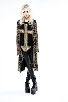 Taylor Momsen. anchored Cross Tee. Leather and Jacquard. Gothic Rock