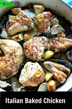 French Delicacies Essentials - Some Uncomplicated Strategies For Newbies Italian Baked Chicken With Green Bell Pepper, Onion, Rosemary, Potatoes Or Turnips. Can Be Baked In Sheetpan. Baked Chicken Pieces, Italian Baked Chicken, Healthy Baked Chicken, Baked Chicken Wings, Baked Chicken Recipes, Cast Iron Roasted Chicken, Roasted Chicken And Potatoes, Roasted Chicken Thighs, Rosemary Potatoes