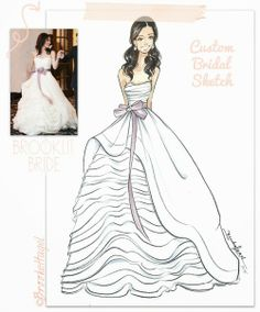 Custom Bridal Fashion Illustrations by Brooke Hagel. Fabulous Doodles, Brooklit Bride on Etsy