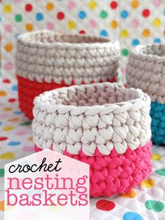 Need to get me some zpagetti yarn! Crochet Nesting Baskets with Zpagetti Yarn - Tutorial Crochet Gratis, Crochet Diy, Crochet Home, Love Crochet, Learn To Crochet, Crochet Bags, Tutorial Crochet, Funny Crochet, Ravelry Crochet