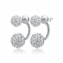 2016 New Fashion Shambhala Double Sided Sythetic Crystal Ball Stud Earrings for Women Wedding Jewelry Gift Wholesale E1752 //FREE Shipping Worldwide //