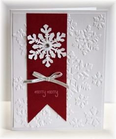 The card - embossed snowflakes, a cherry cobbler strip with some added punched out snowflakes (punch is from Martha Stewart), a little...