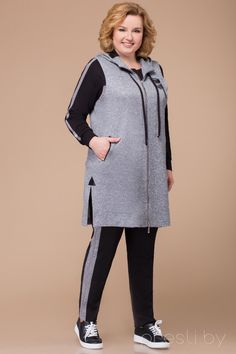 Knitted Jackets Women, Look Fashion, Fashion Outfits, Looks Plus Size, Sporty Outfits, Sweatshirt Dress, Stylish Dresses, Plus Size Outfits, Plus Size Fashion