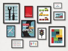 Transportation Gallery Wall - Travel Art Prints - Airplane- Cars - Trains - Quote - Boys Room- Tools - Digital on Etsy, $30.00