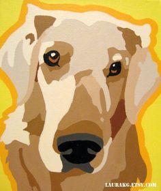 Custom 12x16  Pop Art Dog Portrait Painting of Your Pet via Etsy.