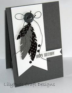 black and white four feathers stamp set: