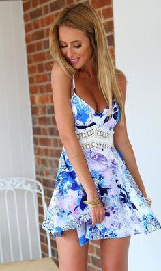 Fabulous Summer Dress Blue Floral Print 2015 Fashion Outfit Ideas.