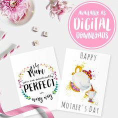 For those of you who have yet to get their Mother's Day card, don't panic! These card designs are available as instant downloads in my shop. Forget about shipping and postage costs and print these out at your leisure 💕 Happy Mother's Day weekend!