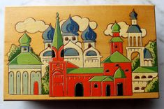 Vintage Folk Art beautiful wood box Pyrography wood burn with colorful Eastern European Russian village scene. handpainted and wood burn design. the all