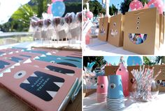Cute Monster Party ideas...cups are easy to do with google eyes, love the favor bags!