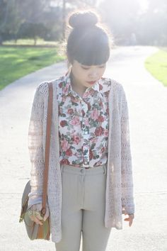 Print blouse with neutral pants - I'd probably leave out the frumpy cardigan