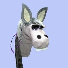 Gray Horse or Donkey Sock Puppet by electrickzoo on Etsy, $35.00