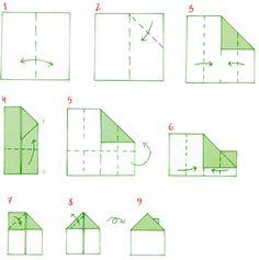 Origami. Malý dům z papíru Home Themes, Origami, Crafts For Kids, Preschool, Teaching, Handmade, Number, Geography, Houses