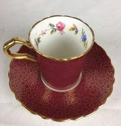 VINTAGE PARAGON RED & GOLD DEMITASSE TEA CUP SAUCER FLORAL 4340/S #Paragon