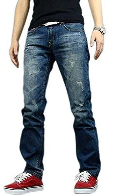 ANDYOU-Men Denim Patchwork Relaxed Fit Trousers Jeans Tenths Pants