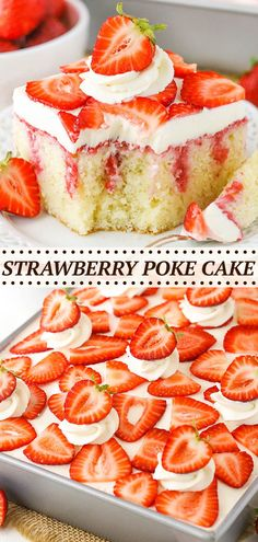 This Strawberry Poke Cake is made with a moist vanilla cake covered with sweetened condensed milk and a fresh strawberry sauce! It is then topped with cream cheese whipped cream for a delicious strawberry treat that is homemade from scratch! Strawberry Poke Cakes, Strawberry Vanilla Cake, Strawberry Cake Recipes, Poke Cake Recipes, Best Cake Recipes, Strawberry Sauce, Dessert Recipes, Vanilla Cake With Strawberries, Strawberry Birthday Cake