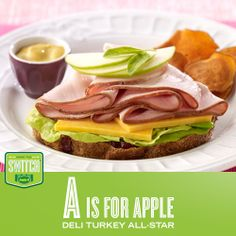 A is for Apple / Deli Turkey All-Star Recipe / #apple #turkey #JennieO #kidfriendly