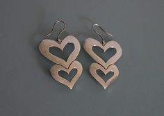 Sterling Silver Heart Earrings Vintage Sterling Silver Big Heart Earrings