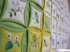 cathedral windows with embroidery - lovely! Sashiko Embroidery, Learn Embroidery, Japanese Embroidery, Silk Ribbon Embroidery, Embroidery For Beginners, Embroidery Techniques, Embroidery Art, Embroidery Patterns, Patchwork Patterns