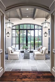 Doors and windows are crucial to the feel of a house but are quite often overlooked. When they're as fabulous as these steel doors they are extraordinary! Home Interior, Interior And Exterior, Brick Interior, Steel Doors, Stone Flooring, Design Case, Windows And Doors, Steel Windows, Arched Windows