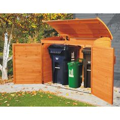 Garbage can storage shed: garbage storage. Link no longer works: it's a product from Costco that apparently they don't carry anymore. Anyone know the manufacturer? Garbage Can Storage, Garbage Shed, Plastic Storage, Outdoor Spaces, Outdoor Living, Outdoor Decor, Outdoor Projects, Home Projects, Wood Storage Sheds
