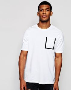 De fedeste Nike TK Pocket T-Shirt 729397-100 - White Nike T-Shirts til Herrer i fantastisk kvalitet