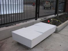 Skateboard Deterrents integrated into bench