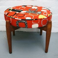 Fully reupholstered Mid-Century stool vintageactually.co.uk