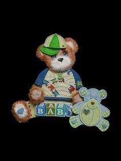 Sweet Baby Boy Tear Bear Paper Piecing for Premade Scrapbook Page