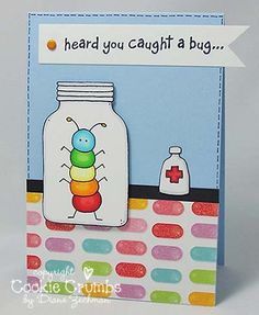 caught a bug card Feel Better Cards, Scrapbook Cards, Scrapbooking, Mason Jar Cards, Get Well Wishes, Paper Smooches, Friendship Cards, Paper Crafts For Kids, Get Well Cards