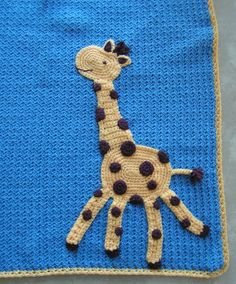 Giraffe baby blanket...cute! Looks like basic crocheting... I can do this If I think about it :)