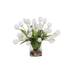 Lux Art Silks White Tulip Faux Flower Arrangement (1,205 ILS) ❤ liked on Polyvore featuring home, home decor, floral decor, flowers, filler, plants, flowers / foliage, white silk flowers, silk flower arrangement and fake flower arrangement